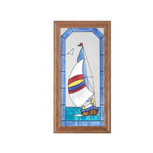 Stained Glass Sailboat (Sailboat Painted Glass Panel C-015)