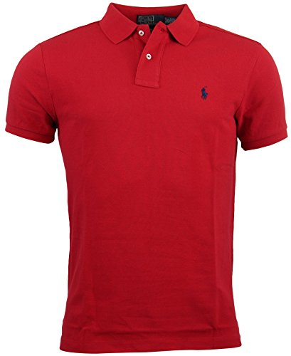 - Polo Ralph Lauren Mens Custom Fit Mesh Polo Shirt - S - Red (Navy logo)