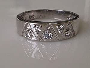 18K White Gold Round Cut 0.31 ct Diamond Ring in Size US 9.25 [A04326]