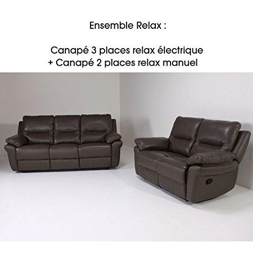 Sofá 2 y 3 plazas Relax-Bibi-Relax-Piel Gruesa, Color Gris y ...