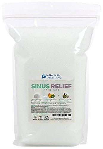 Sinus Relief Bath Salt 128oz (8-Lbs) - Epsom Salt Bath Soak With Cypress Essential Oils & Vitamin C - Get Natural Relief - All Natural Bath Soak