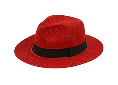 Wide Brim Paper Straw Fedora, Classic C Crown Panama Sun Hat with Grosgrain Band and Adjustable Drawstring (One Size Fits Most) (Red)]()