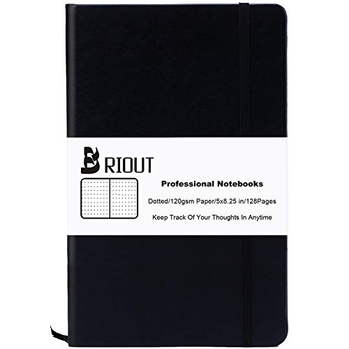 Briout Classic Notebook Journal Hard Cover Dot Grid Writing Notebooks Faux Leather with Inner Pocket 120gsm Thick Paper 128 Pages 5×8.25