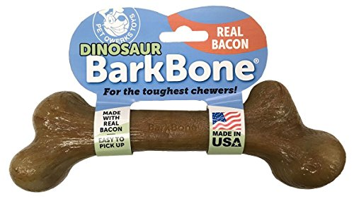 Pet Qwerks Dinosaur BarkBone with Real Bacon Dog Chew Toy for Aggressive Chewers, Made in USA by Pet Qwerks
