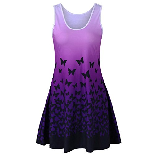 Womens Butterfly Printing Dress Lady, SanCanSn Sleeveless Party Dress Vintage Casual Dress(Purple ,L)