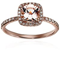 10k Rose Gold Morganite and Diamond Cushion Engagement Ring (1/4cttw, H-I Color, I1-I2 Clarity), Size 7