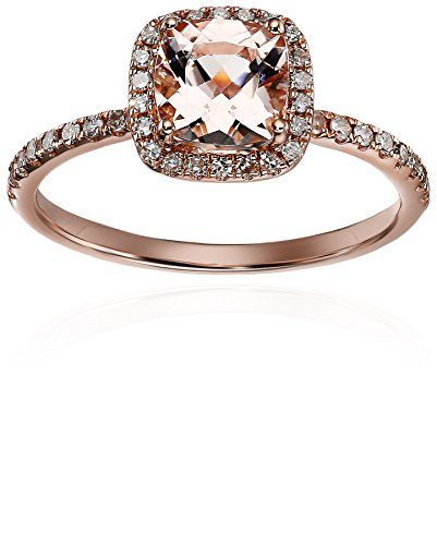 Morganite Diamond Cushion Engagement Clarity