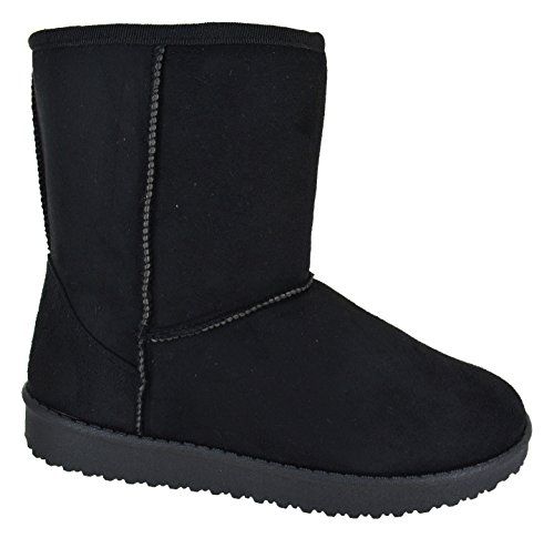 EYESONTOES Ladies Womens Warm Winter Faux Fur Lined Hug Snugg Ankle Shoes Boots Size 3-8 Black