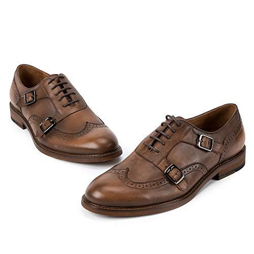 Brogues Coffee Pie Hebilla Con Del De Genuino Mano Ronda Cordones Formal A Para Cuero Merryhe Oxford Hechos La Hombre Zapatos Vestir Dedo Zapato Bqxtnn0