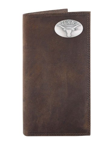 NCAA Texas Longhorns Light Brown Crazyhorse Leather Roper Concho Wallet, One Size