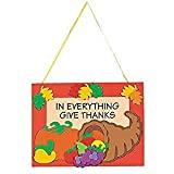 12 Thanksgiving ''In Everything Give Thanks'' Door Hanger Craft Kits ~ Holiday Activity ~ Classroom ~ Party Favor