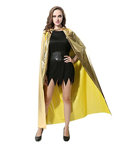Anlydia Glamorous Shiny Costume King Queen Cape Cloak for Party Halloween Christmas (Gold) (Vampire Queen Halloween Makeup)