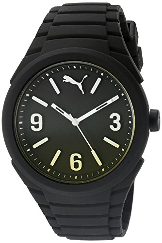 PUMA Unisex PU103592010 Gummy fading black yellow Analog Display Watch (Sports Women Puma Watch)