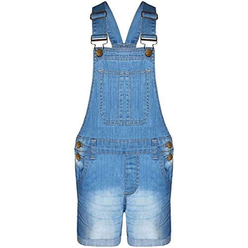 New Kids Girls DENIM Stretch Light Wash Dungarees Playsuit Jumpsuit Short Dress