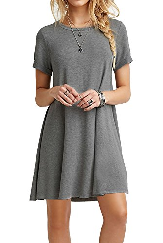 (MOLERANI Women's Casual Swing Summer Dresses Round Neck T Shirt Dress Gray XL)