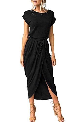 (Herose Girls Bodycon Slimming Sexy Black Maxi Dress 1 Pc Cotton Outfits XS Black)