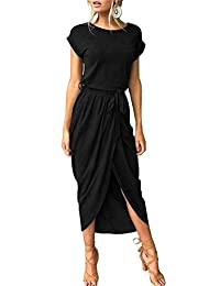 Herose Ladies Cotton Blended Plain Cap Cuffed Sleeve Pullover Long Maxi Dress