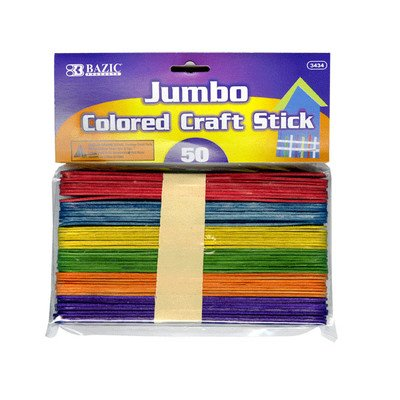 BAZIC Jumbo Colored Craft Stick 50 Per Pack (Colored Sticks)
