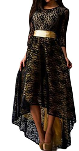 Sleeve Cruiize Sexy Black Elegant Womens Lace Long Swing Party Dress Hi low Maxi HqHw4Z