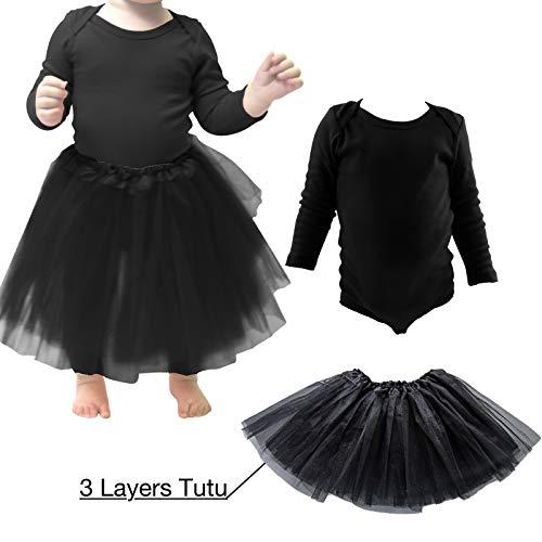 COUVER Baby Toddler Long Sleeve Lap Shoulder Solid Color Bodysuit Onesie+3Layer Black Tutu ()
