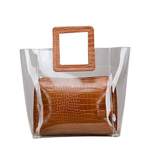 Donalworld Circle Classic Waterprof Clear Tote Beach Shoulder Crossbody Bag Brn - Circle Handle