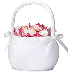 Lillian Rose Round Satin Flower Girl Basket White