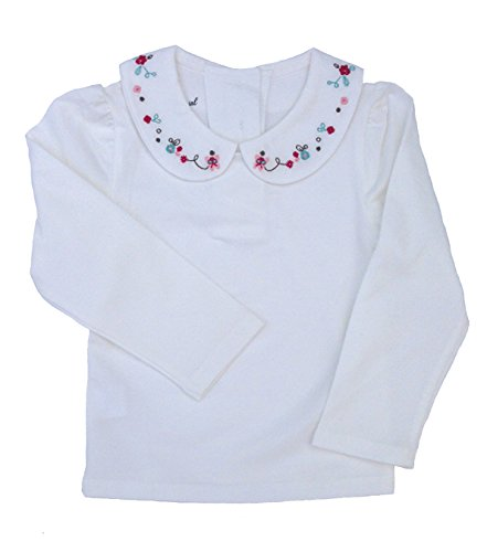 Dastan Little Girls Top and White School Uniforms With Pretty Floral Embroidered Collar Blouses Long Sleeve T Shirt 3-11 T (6-7 Years, OP)