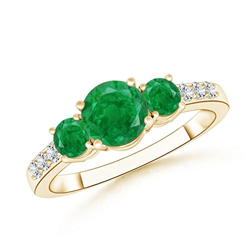 Round Colombian Emerald - Three Stone Round Emerald Ring for Women with Diamond Accents in 14K Yellow Gold (6mm Emerald)