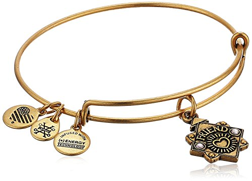Alex and Ani Womens Because I Love You, Friend Charm Bangle Bracelet, Rafaelian Gold, Expandable