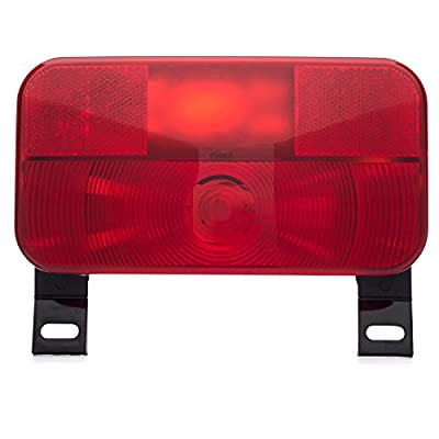 Lumitronics Red Surface Mount Tail Light - License Bracket and License Light - Stop/Turn/Tail/Light - (Black): Automotive