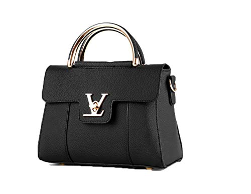 Flap V Women's Luxury Leather Clutch Bag Ladies Messenger Bags Famous Tote Bag Black (Chanel Like)