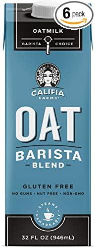 Califia Farms Oatmilk Barista Blend, Dairy Free, Whole30, Keto, Vegan, Plant Milk, Non-GMO, Unsweetened, 32 Fl Oz (Pack of 6)