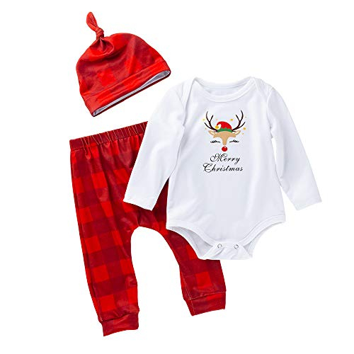 Beer Girl Outfits (Infant Baby Boys Girls Christmas Clothes Outfit Beer Print Long Sleeve Romper Plaid Pants with Hat Set (White&red,)