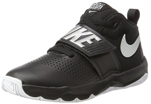 Nike Boys' Team Hustle D 8 (GS) Basketball Shoe Black/Metallic Silver - White 5.5Y Youth US Big Kid