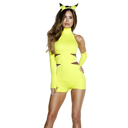 [Forplay Women's Perfect Catch Sexy Cartoon Character Costume, Yellow, S/M] (Cartoons Characters Costumes)