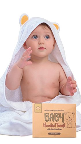 Organic Cotton Bath Towel (Baby Hooded Towel - Bamboo Baby Towel By KeaBabies - Organic Bamboo Towel - Infant Towels - Large Bamboo Hooded Towel - Baby Bath Towels With Hood For Girls, Babies, Newborn Boys, Toddler (Bear))