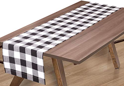 Linen Clubs Buffalo Check Table Runner 16x72 Black/White