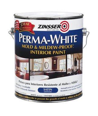 Zinsser 02711 1 Gallon Satin Gloss Perma-White Mildew-Proof Bathroom Pain