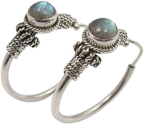 Sterling silver Labradorite hoop earrings