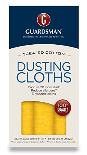 Guardsman Wood Furniture Dusting Cloths - 3 Pre-Treated Cloths - Captures 2x The Dust of a Regular Cloth, Specially Treated, No Sprays or Odors - 462800 - Flannel Paper