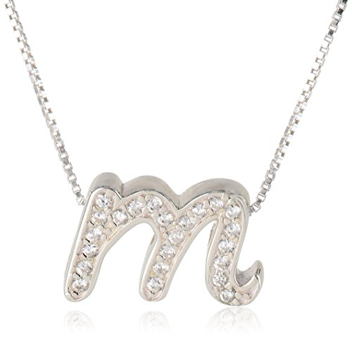 Sterling Crystal Initial Pendant Necklace