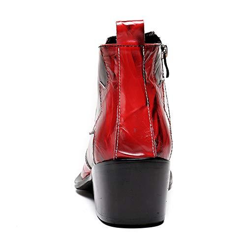 3 de Creativo de Hombres Zapatos Cuero Hombres Estrecha Negocios 41 Vendimia Antideslizantes 1 Punta los de para de la Largo de Botas EU Rojo Chlyuan Tubo tamaño de 5z8ZqzxF