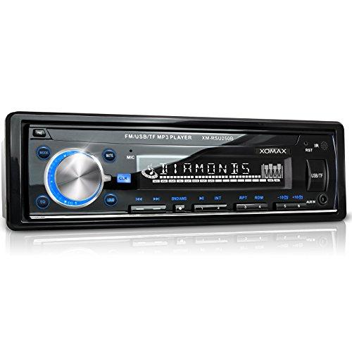 XOMAX XM-RSU250B Autoradio mit USB Anschluss (bis 32 GB) & Micro SD Kartenslot (bis 32 GB) für MP3 und WMA + Beleuchtungsfarbe blau + AUX-IN + Verkürzte Einbautiefe + Single DIN (1 DIN) Standard Einbaugröße + inkl. Einbaurahmen und Fernbedienung