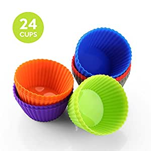 Zanmini Muffin Cups Silicone Cupcake Makers BPA Free Food Grade Cupcake Containers Set of 24, Dishwasher Safe Best Gift for Family