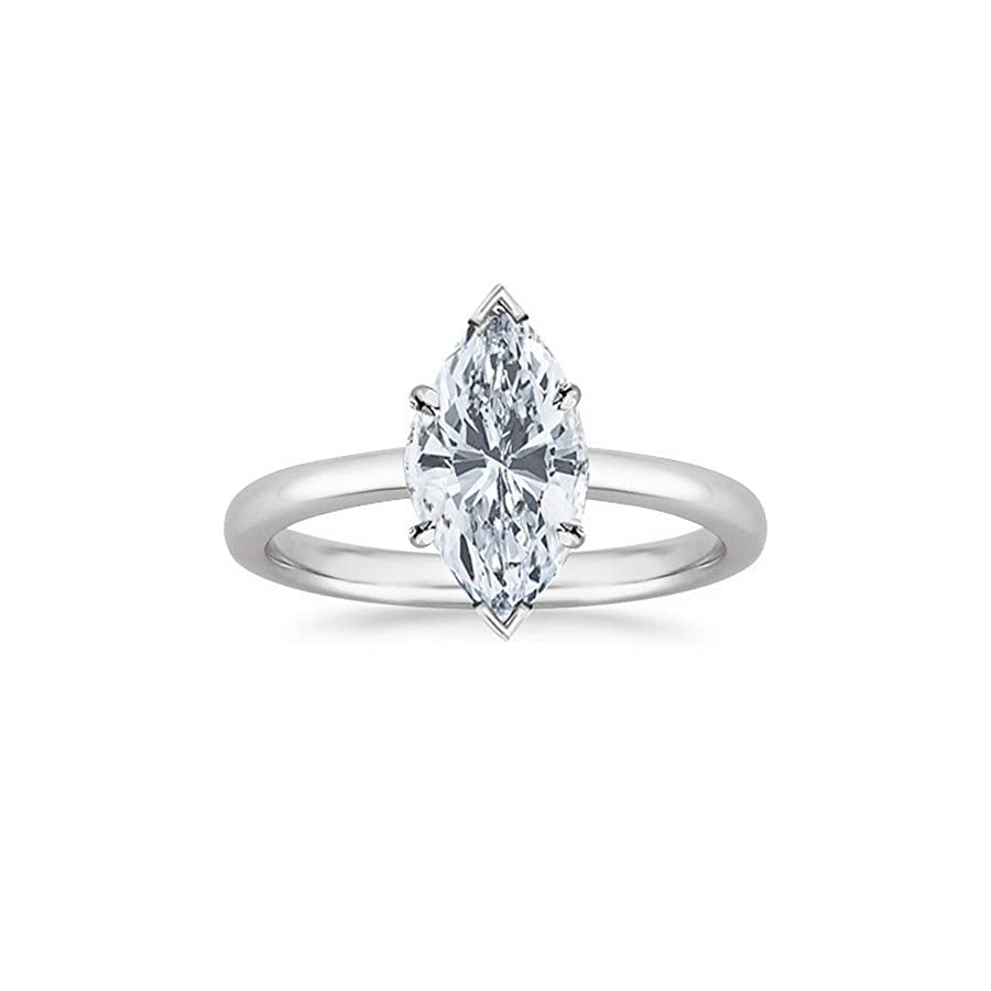 14K White Gold Marquise Cut Solitaire Diamond Engagement Ring (0.5 Carat D E Color SI2 Clarity)