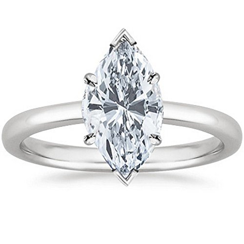 14K White Gold Marquise Cut Solitaire Diamond Engagement Ring (1 Carat H-I Color SI2-I1 Clarity)