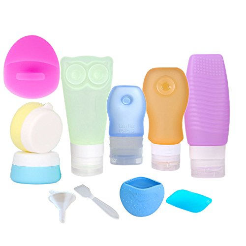 Price comparison product image Travel Bottles Set,  Silicone Toiletry Dispensing Travel Containers BPA Free Refillable Leakproof Cream Jar with Toothbrush Cover Toiletry Bag for Cosmetics Shampoo,  Lotion Sunblock Soap 11 PCS