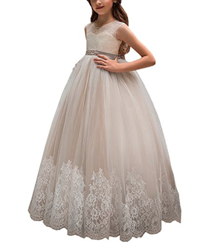 Flower Girl Dress for Wedding Kids Lace Pageant Ball Gowns (Size 6, Champagne)