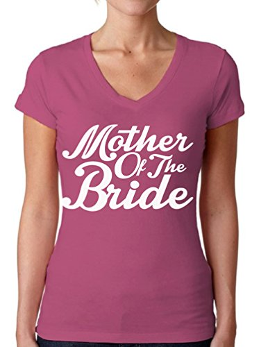 Bride Womens Pink T-shirt - Awkwardstyles Women's Mother of The Bride V-Neck T-Shirt W Tee Shirt + Bookmark M Pink