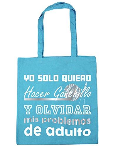 HippoWarehouse Yo Solo Quiero Hacer Ganchillo y Olvidar Mis Problemas de Adulto Bolso de Playa Bolsa Compra Con Asas para gimnasio 42cm x 38cm 10 litros capacidad Azul Celeste
